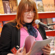 Stockfoto: Author presenting her book at Leipzig Book fair