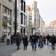 People walking in the center of Leipzig - Stock Photo