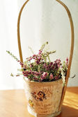 Beautiful purple heather in a vintage wooden pot — Stok fotoğraf