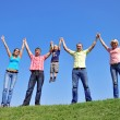 Group of four friends and kids — Stock Photo #1218254