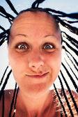 Mladá žena tvář vyjádření — Stock fotografie