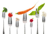 Vegetables on a fork — Stock Photo