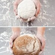 Hand with the dough and bread — Stock Photo