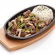 Pan with rice and meat — Stock Photo