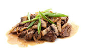 Grilled meat with mushrooms — Stock Photo