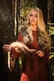Scandinavian girl with fur skins — Stock Photo