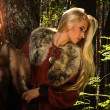 ������, ������: Scandinavian girl with fur skins