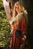 Scandinavische meisje met bont skins — Stockfoto