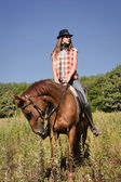 Cowgirl riding a bay horse — Stock Photo