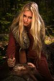 Scandinavian witch pythoness with runes — Photo
