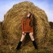 Beautiful woman near a haystack — Stock Photo #14875451