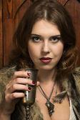 Mujer sexy con una copa de vino — Foto de Stock
