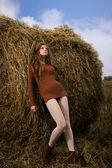 Beautiful woman near a haystack — Stock Photo