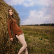 Beautiful woman near a haystack — Stock Photo