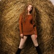 Beautiful woman near a haystack — Stock Photo #14895995