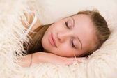 Sleeping blonde woman — Stock Photo
