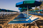 Roe of striped deck chairs on the beach — Stock Photo