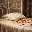 The bed in the elegant bedroom — Foto Stock