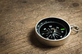 Compass on a wood table — Foto Stock