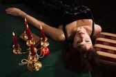 Lüks boudoir moda kadın — Stok fotoğraf