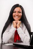 Gelukkig zakenvrouw over wit — Stockfoto