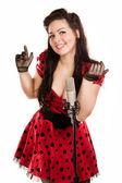 Pin-up kızı şarkı söylemek — Stok fotoğraf