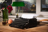 Vintage still life with typewriter — Stock Photo