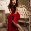 Beautiful brunette in a red dress sitting on the couch - Stock fotografie