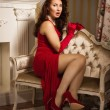 Beautiful brunette in a red dress sitting on the couch - Stok fotoraf