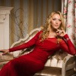 Romantic portrait of a beautiful blonde lady in a red dress - Stok fotoraf
