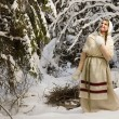 Russibeautiful girl in winter forest — Stock Photo #22142959
