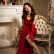 Romantic portrait of a beautiful lady in a red dress — Stock Photo #22214595