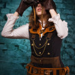 Steam punk tjej med kikare — Stockfoto #22302135
