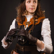 Steam punk girl with binocular — Stockfoto