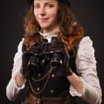 Steam punk girl with binocular — Stock Photo #22302877