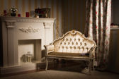 Luxurious vintage interior with fireplace — ストック写真