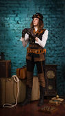 Steam punk girl with binocular — Stock Photo