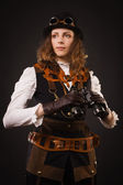 Steam punk girl with binocular — Stock Photo