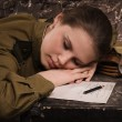 Soviet female soldier in uniform of WWII sleeping in the dugout — Stock Photo
