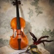 Violin with score and mask on a stone wall — Stock Photo