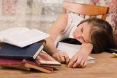 Lifeless college girl — Stock Photo