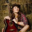 Country girl with guitar — Foto de Stock