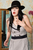 Frightened screaming retro model in the boudoir — 图库照片