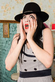 Frightened screaming retro model in the boudoir — ストック写真