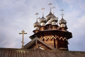 Domes of Orthodox Church in North Russian style — Stock Photo