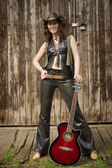 Country girl with guitar — Foto Stock