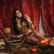 Beautiful arabic woman with hookah — Stock Photo #30137011