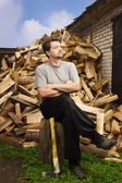 Chopping wood — Stock Photo