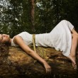 Slavonian girl in the deep forest — Stockfoto
