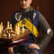 Knight plays chess  — Stock Photo